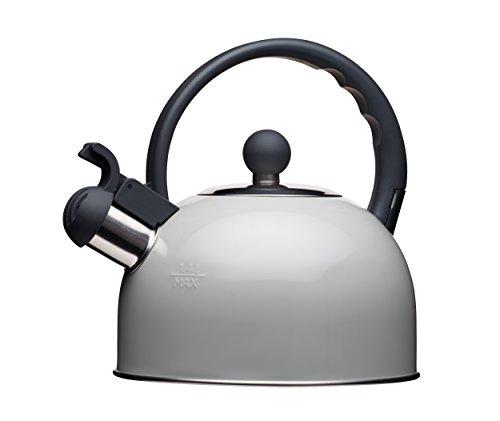 Induktionsgeeigneter Pfeifkessel der Living Nostalgia-Reihe von KitchenCraft, 1.3 L, Wasserkocher in antiker Cremefarbe, metall, grau, 18 x 21.5 x 21 cm