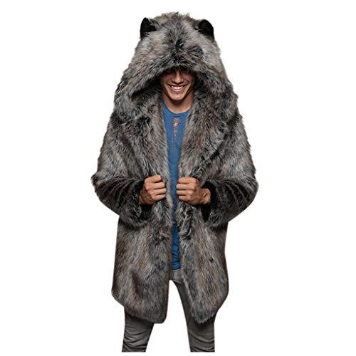 Mens Winter Warm Leopard Faux Fur Long Length Luxury Outerwear Coat Jacket Gray