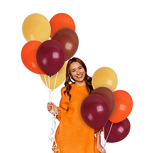 Fall Balloon Garland Kit 100 Pack Orange Mocha Brown Yellow Burgundy Balloons 12 Inch Balloon Arch harvest festival Decoration for Safari Wild Birthday Animal Dinosaur Baby Shower Autumn Engagement Wedding Party Decorations