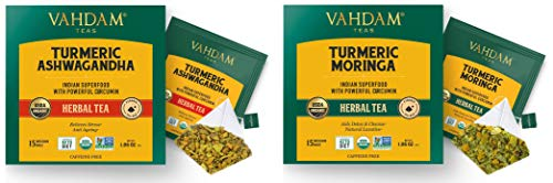 VAHDAM, Organic [CERTIFIED] Turmeric Ashwagandha and Turmeric Moringa Herbal Tea Bags- 15 Each, 30 Tea Bags | Moringa Tea & Ashwagandha Tea Bags | Immunity Booster Tea | Herbal Tea for Immunity