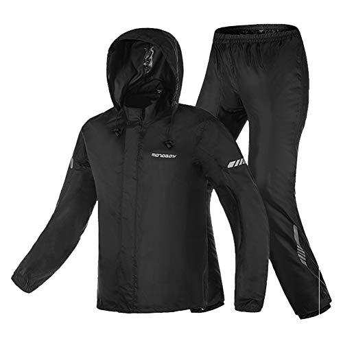 Motorcycle Rain Suit,Waterproof Hi Vision Reflective Bicycle Rain Coat with Adjustable Hood (Black,...