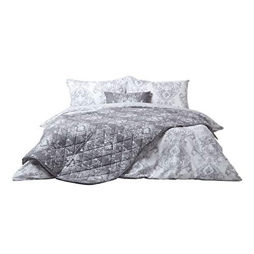 Homescapes graue Tagesdecke im Toile-de-Jouy Design, gesteppter Bettüberwurf mit Blumenmuster & Streifen, Bettüberzug mit praktischem Wendedesign in Hellgrau, 200 x 200 cm