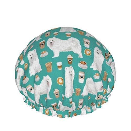 Gorras de ducha impermeables reutilizables para bañarse con gorro de ducha de Eva, reutilizables (cafés Samoyed Lindo blanco trineo perros lindos perros)