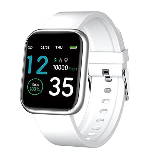 Generic X21 - Reloj inteligente de 1,3 pulgadas, recordatorio de llamadas y mensajes, seguimiento de la presión arterial, monitor de actividad física IP67, color blanco