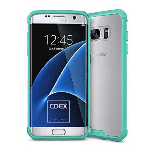 doupi PerfectFit AirClear Funda para Samsung Galaxy S7 Edge, Crystal Clear Cubierta Posterior BackCover y Protección, Turquesa