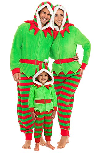 Alexander Del Rossa Women's Warm Fleece One Piece Footed Pajamas, Adult Onesie with Hood, Large Elf Non-footed (A0322ELFLG)