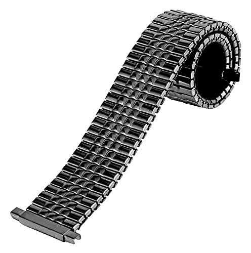 FETTR Correa de reloj de acero elástica de 16 mm, correa de reloj de acero inoxidable, 18 mm, sin hebilla, repuesto de metal, 20 mm, correa de reloj de pulsera de 22 mm (tamaño: oro)