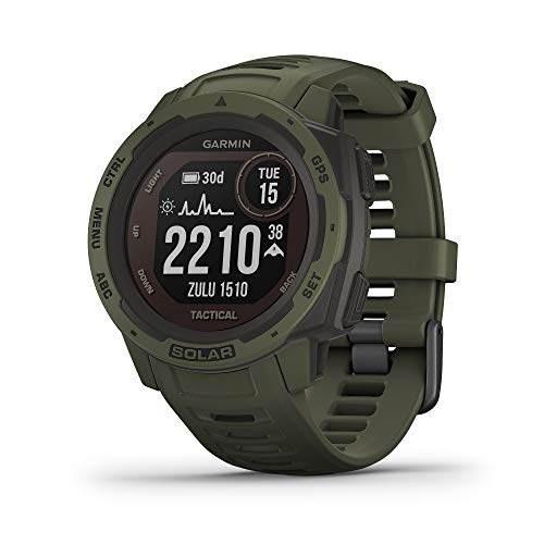Garmin Instinct Solar Tactical, Rugged Outdoor Smartwatch with Solar Charging Capabilities and Tactical Features, Built-in Sports Apps and Health Monitoring, Moss Green