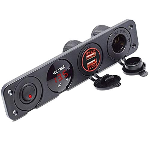N\A Auto Leichter USB Power Ladegerät 12V-Steckdosen Staubdichtes wasserdicht mit Rocker Switch 4 in 1 Auto-Zigarettenanzünder-Digital Voltmeter Doppel qualitätssicherung (Color Name : Red)