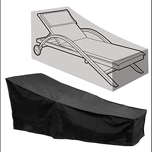 Cubierta de Muebles de Jardín Impermeable,Funda Protectora para Tumbona de Jardín Patio, Resistente al Viento Anti UV Cubierta Tumbona Protectora para Muebles de Jardín 210 * 75 * 80 * 40CM,Negro