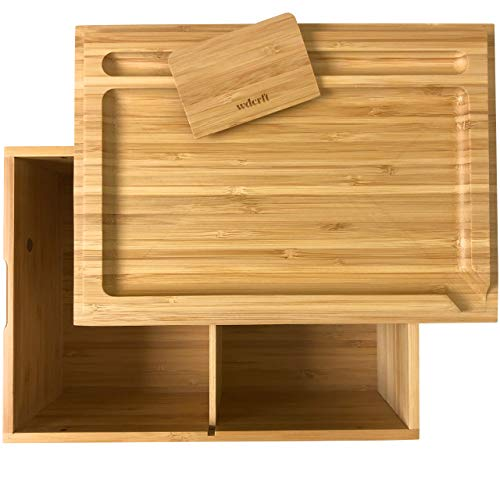 WDCRFT Stash Box Rolling Tray Set with Scraper - Get Organized and Roll with Premium Bamboo Storage Box