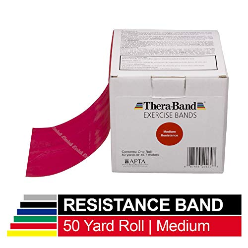 TheraBand Resistance Bands, 50 Yard Roll Professional Latex Elastic Band for Upper & Lower Body & Core Exercise, Physical Therapy, Pilates, at-Home Workouts, Rehab, Red, Medium, Beginner Level 3