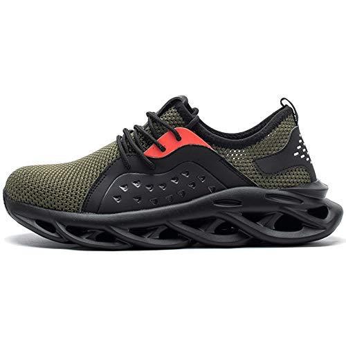 Koyike Zapatos de Trabajo de Seguridad para Hombres con Gorra de Acero Zapatos de Senderismo indestructibles Zapatos Deportivos Transpirables para Mujeres,Green-44