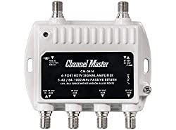 Boost Your HDTV Antenna Signal - Channel Master CM3414 4-Port Distribution Amplifier for Cable and Antenna Signal