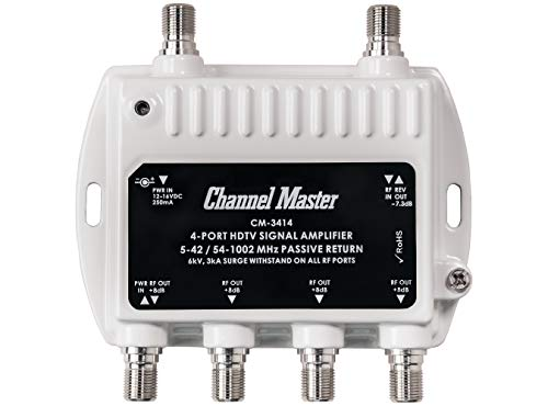 Channel Master Ultra Mini 4 TV Antenna Amplifier, TV Antenna Signal Booster with 4 Outputs for...