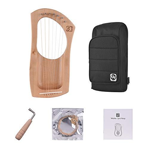 Muslady Walter.t Lira,Arpa 7 Cuerdas, Madera Cuerdas de Metal Madera Maciza de Caoba Instrumento de Cuerda con Bolsa de Transporte