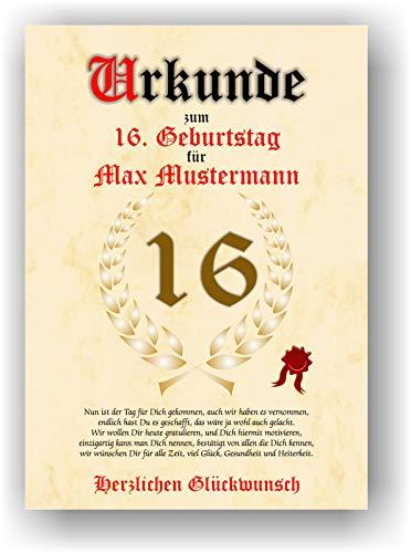 Urkunde zum 16. Geburtstag - Glückwunsch Geschenkurkunde personalisiertes Geschenk mit Name Gedicht und Spruch Karte Präsent Geschenkidee DIN A4