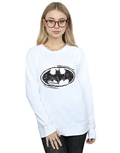 DC Comics Damen Batman Sketch Logo Sweatshirt Weiß Medium