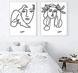 YUSHIJIA AS65ST12 Picasso Línea Arte Dibujo Pósters e Impresiones, Lona de Arte Dibujos Ramo de la Mujer de la Paz Pintura del Cartel, Minimalista Pared Bellas Artes 42X60Cmx2Pcs Posters Prints