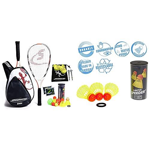 Speedminton® S900 Set – Original Speed Badminton/Crossminton Profi Set mit Carbon Schlägern inkl. 5 Speeder® & Match Speeder® - 3er Pack Speed Badminton/Crossminton original Wettkampfball