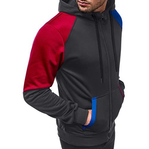 DNOQN Herren Lässig Patchwork Schlank Hoodie Outwear Bluse Reißverschluss Sweatshirt Grau L