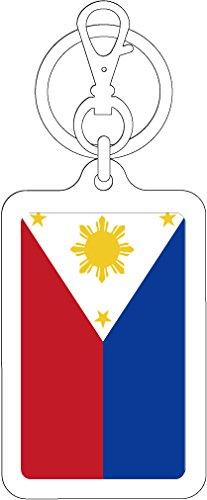 K-SK227 フィリピン PHILIPPINES 100円国旗ステッカー キーホルダー (WHITE)
