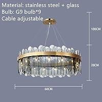 MYERZI 廊下照明 豪華 現代グレイクリアガラスのシャンデリアゴールドステンレススチールランプリビングルームレストラン照明器具G9 LEDコード調節可能 (Emitting Color : White light, Lampshade Color : Gray glass 60cm)