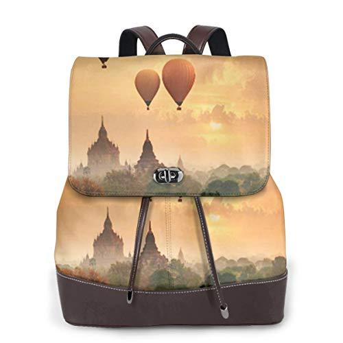 SGSKJ Rucksack Damen Myanmar Sonnenaufgang Morgen Zeit Ballon, Leder Rucksack Damen 13 Inch Laptop Rucksack Frauen Leder Schultasche Casual Daypack Schulrucksäcke Tasche Schulranzen
