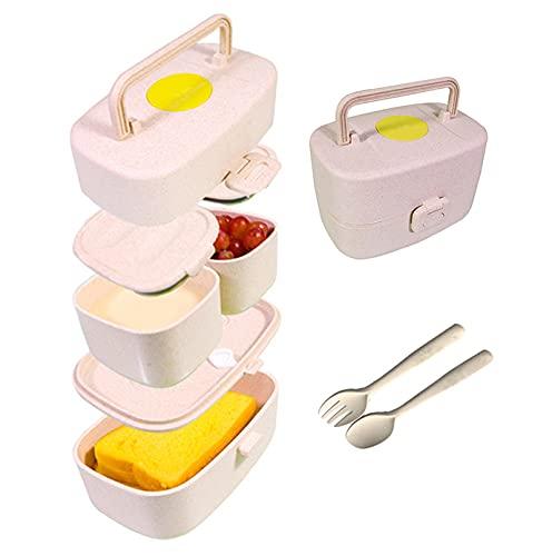 Bento Box para niños, incluye fiambrera para niños con asa, fiambrera con compartimentos con 3 compartimentos y cubiertos de fibra de arroz, cubiertos de paja de trigo y fibras de arroz.