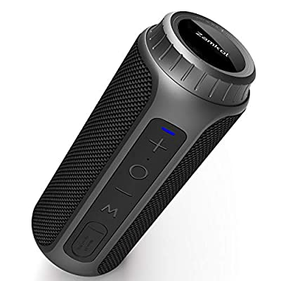 Bluetooth Speaker 5.0, Zamkol Portable Wireless Outdoor Speakers Enhanced Bass, 30W and 10H Playtime, 360° Full Surround Sound, IPX6 Waterproof, for iPhone, Samsung, Huawei, Computer and More from Zamkol