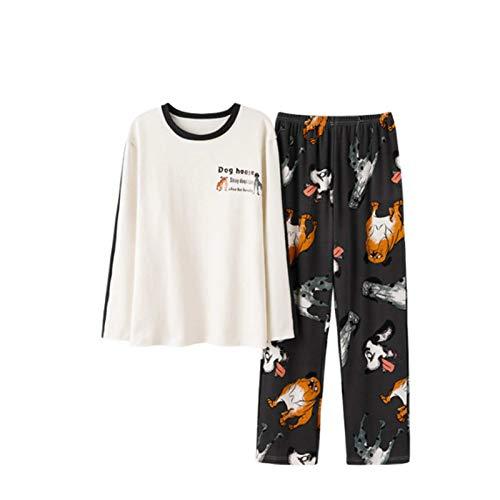 Alavo Traje de dos piezas de dibujos animados para el hogar, traje de pijama para parejas, ropa deportiva de manga larga suelta, camisón casual, hombre, XL