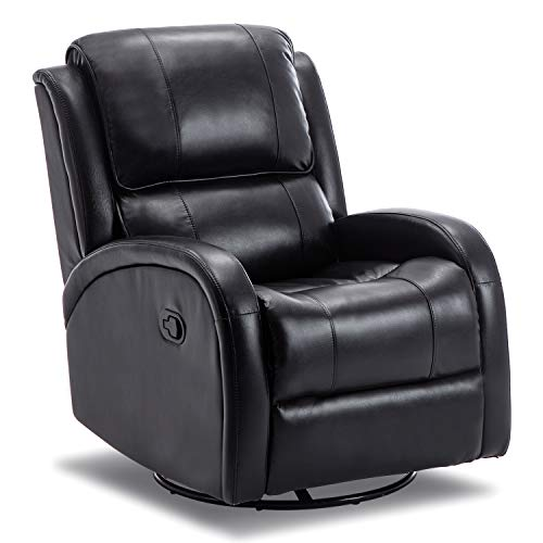 Bonzy Home Glider Swivel Recliner Chair - PU Leather Overstuffed Rocker Recliner - 360° Swivel Glider Home Theater Seating - Faux Leather Bedroom & Living Room Sofa Chair (Black)