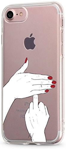 AVANA Kompatibel mit iPhone SE 2020 / iPhone 8 / iPhone 7 Hülle Schutzhülle Flexibles Case Schutz Durchsichtige Transparente Silikon TPU Muster Handyhülle Clear Cover Motiv (Fuck You)