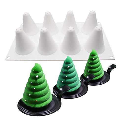 N/ A 8 Cavidad De Molde De Silicona Árbol De Navidad, Árbol De Navidad Molde De Espuma, Herramienta del Molde De La Torta del Helado del Molde Decoración De La Torta De Navidad