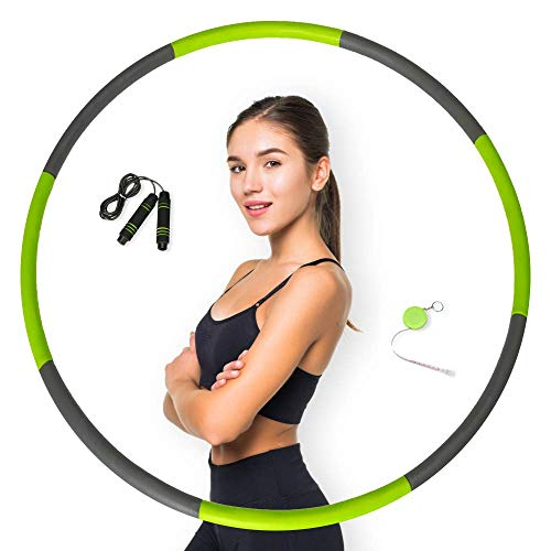 Pathonor Hoola Hoop for Adults Weight Loss, Weighted Hoola Hoops Hula Fitness Hoop with Skipping Rope Cute Soft Ruler, 8 Section Detachable Design(Green-Gray)