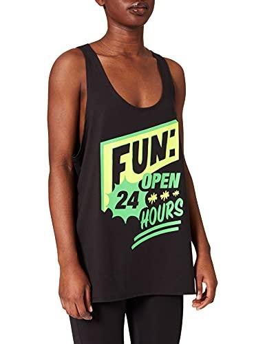 Zumba Negro Gimnasio Camisetas Tirantes Mujer Suelta Fitness Entrenamiento Deportivo Top Tank Tops, Poppin' Black, XX-Large Womens