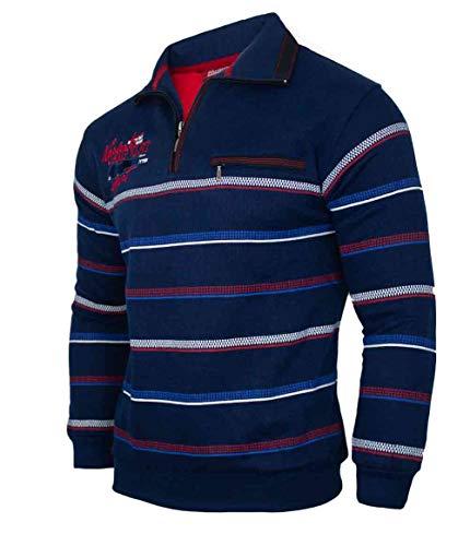 Soltice Herren Langarm Sweatshirt, Poloshirt, Polohemd, Blousonshirts mit Kragen (M bis 3XL) (2XL, Navy [D3])