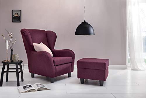 Furniture for Friends Möbelfreude® Ohrensessel Plum Wohnzimmersessel mit Hocker
