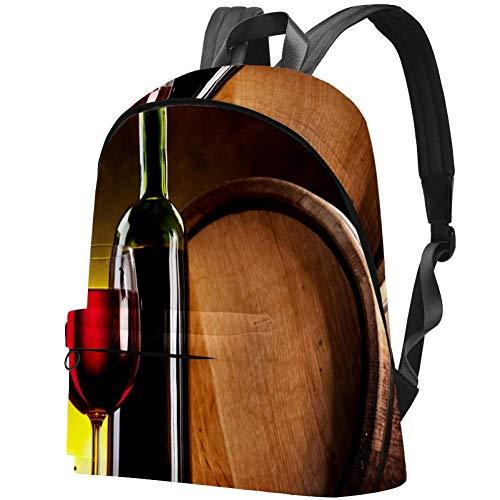 Bolsa de viaje para botella de vino, cristal y barriles de roble con patrón ilustración para estudiantes universitarios