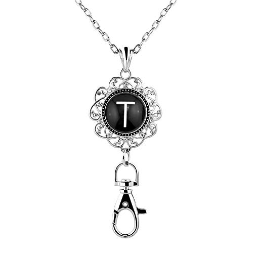 Casa De Novia Lanyard ID Badges Holders Necklace Keychain Women Office Letter A-Z Initial Snap Charms Press Button Jewelry