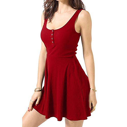 FHKGCD Sommerkleidung Bandage Bodycon Mini Tank Kleid Hohe Taille Slim Solid Fit Flare Kleid Frauen, Rot, M.