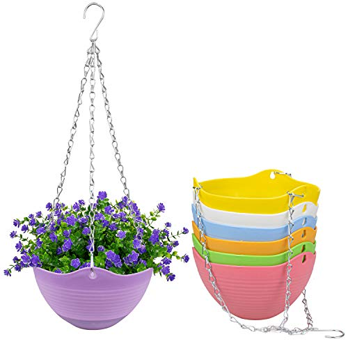 Foraineam Set of 7 Colors Self-Watering Hanging Planter Indoor Outdoor Garden Flower Plant Pot Container with Drainer and Hanging Chain