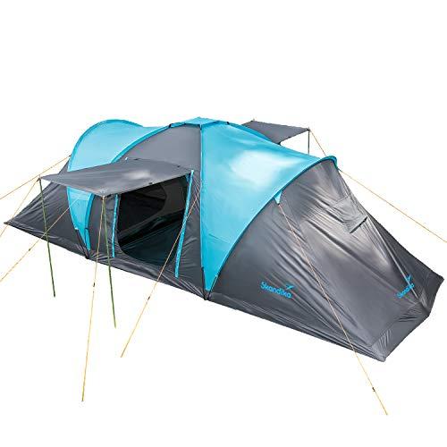 Skandika Kuppelzelt Hammerfest für 6 Personen | Campingzelt mit Sleeper Technologie und eingenähtem Zeltboden, Schwarze Schlafkabinen, 2 m Stehhöhe, 2 Eingänge, Moskitonetze, 2000 mm Wassersäule