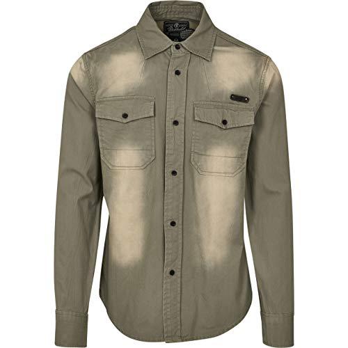 Brandit Hardee Camisa Denim Camiseta Hombre Camisa Vaquera - Gris Verde Oliva, XL