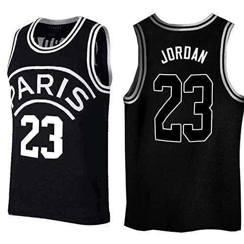 # 23 Michael Jordan Chicago Bulls Paris Camiseta de Baloncesto Bordada de edición Conjunta, Malla Transpirable, Unisex sin Mangas Camiseta Deportiva de Secado rápido Black-L