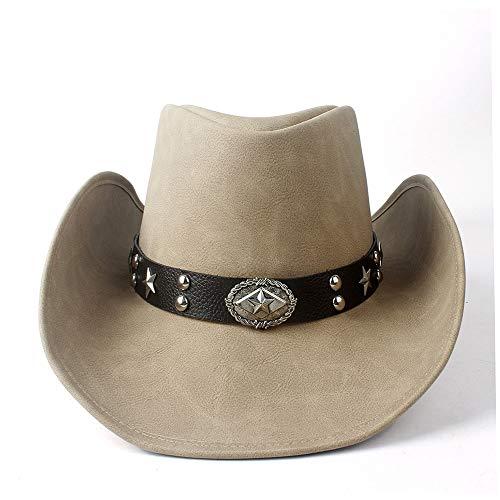 no-branded LJPEUR Sombrero de Vaquero Occidental de Hombre con ala Ancha Cinturón de Punk Vaquera Gorra de Jazz con Gorra de Caballero de Cuero Reborde for Arriba (Color : Tan, Size : 58-59)