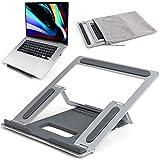 Supporto per laptop, portatile, portatile, portatile, ventilato, con 4 livelli, supporto antiscivolo per notebook, colore: argento