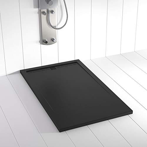 Shower Online Plato de ducha Resina FLOW - 90x140 - Textura Pizarra - Antideslizante - Todas las medidas disponibles - Incluye Rejilla Color Negro y Sifón - Negro RAL 9005