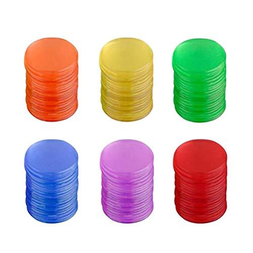 Toyvian Plastic Tokens Pro Count Bingo Chips Marcadores para Tarjetas de Juego de Bingo Accesorios de Juego (Azul + Rojo + Amarillo + Verde + Púrpura + Naranja Cada 50PCS) - 300pcs