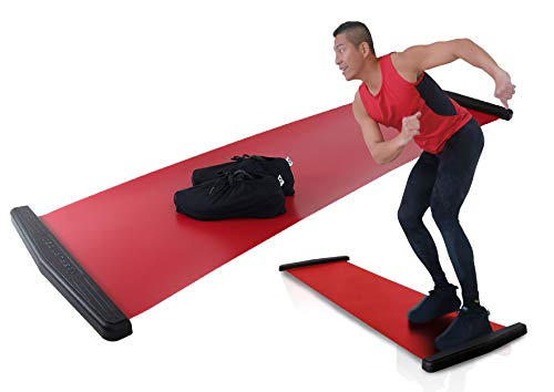 Balance 1 Slide Board EX - Super Smooth Board Home Gym Slide Exercise with Lycra Shoe Sleeve! Super Smooth Surface for The Best result-6FT for All Users (RED180)